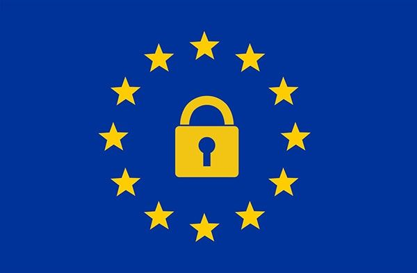 European Union flag with a padlock in the center